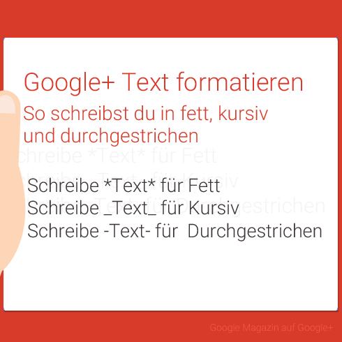 Google Plus Text formatieren