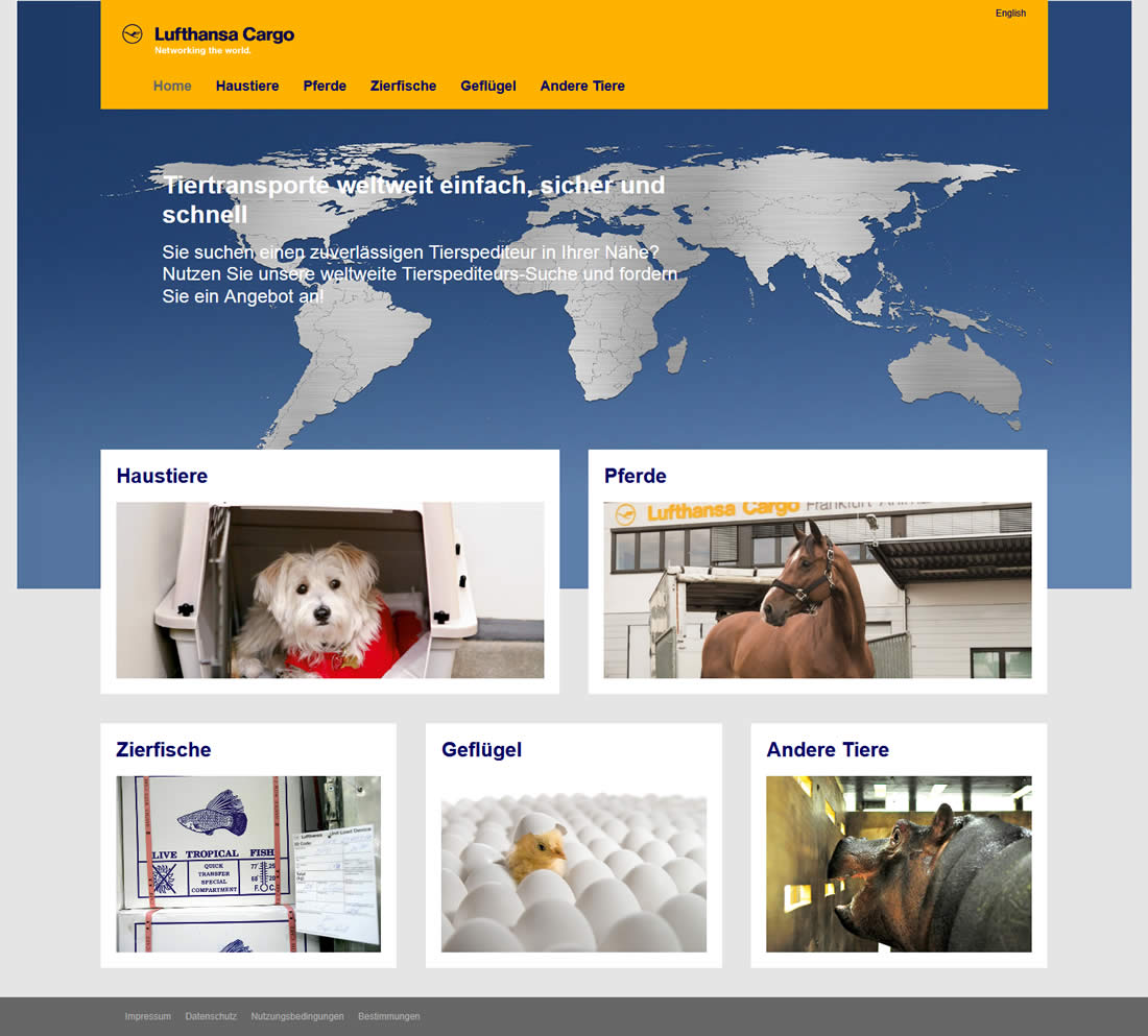 Lufthansa Cargo - Tierspedition Onlinesuche